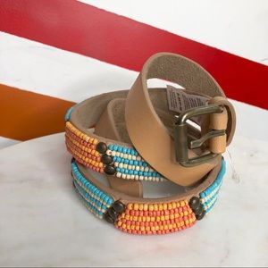 NEW Free People beaded leather belt S/M